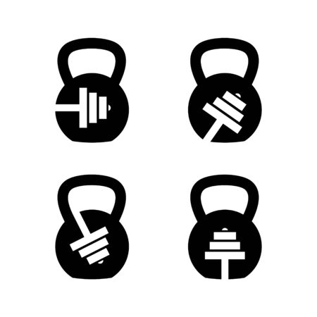 Kettlebell and Barbell Fitnes Gym Logo Design.
