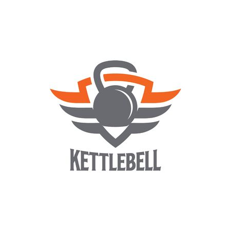Kettlebell Wings Logo Design Vector Graphic. Vectores