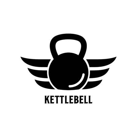 Kettlebell Wings Logo Design Vector Graphic.
