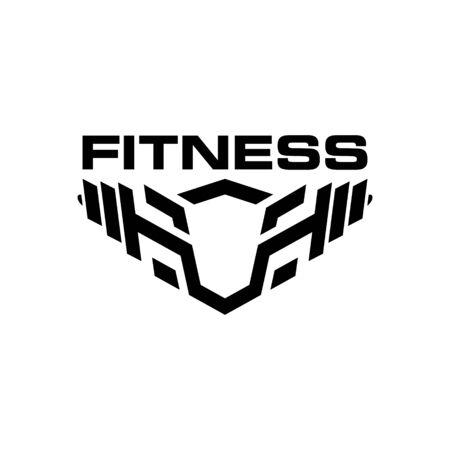 Shield Barbell Fitness Sport Logo Design Vector. Vectores
