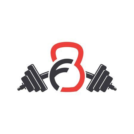 Letter F Fitness Sport Logo Design Vector Vectores