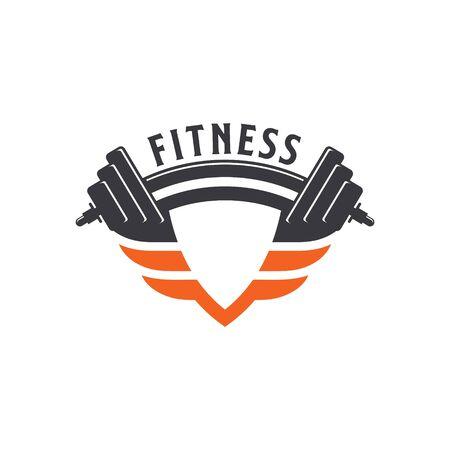Shield Fitness Barbell Sport Logo Design Vector.