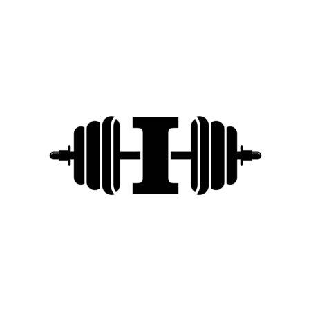 Letter I Fitness Gym Logo Design. Barbel Sports Vector Icon.