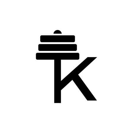 Letter K Fitness Gym Logo Design. Barbel Sports Vector Icon. Illustration