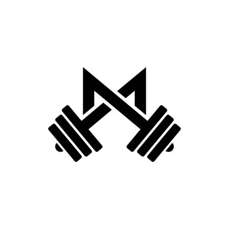 Letter M Fitness Gym Logo Design. Barbel Sports Vector Icon.