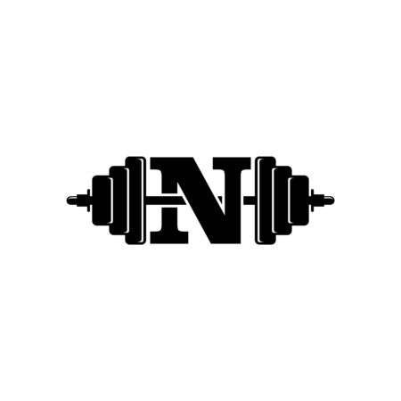 Letter N Fitness Gym Logo Design. Barbel Sports Vector Icon. Illustration