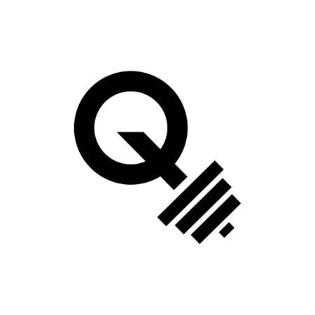 Letter Q Fitness Gym Logo Design. Barbel Sports Vector Icon.
