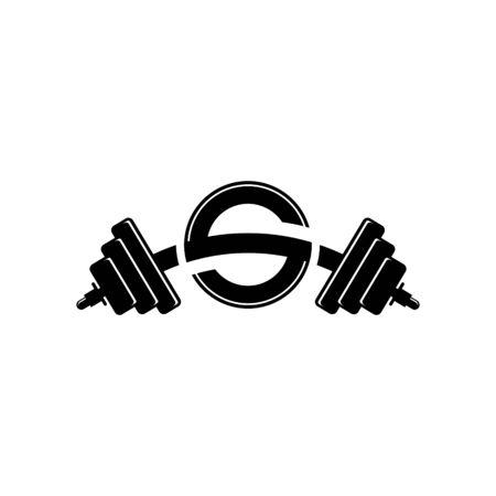 Letter S Fitness Gym Logo Design. Barbel Sports Vector Icon. Illustration
