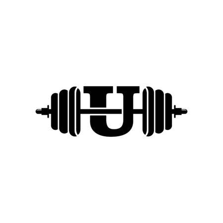 Letter U Fitness Gym Logo Design. Barbel Sports Vector Icon. Illustration