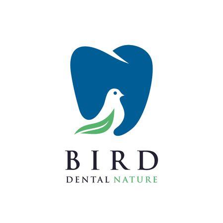 Bird Dental Logo Design Vector.