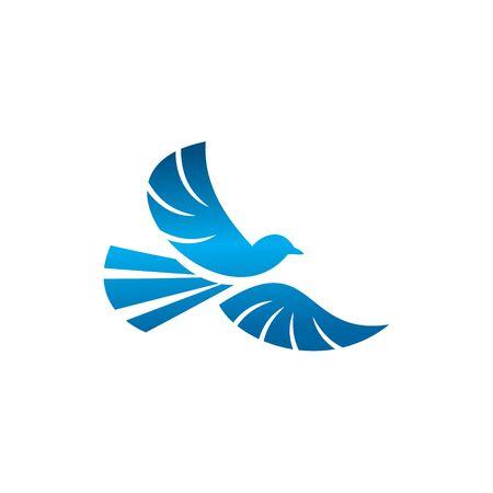 Blue Bird Logo Design. Flaps its Wings Vector Graphic Logo