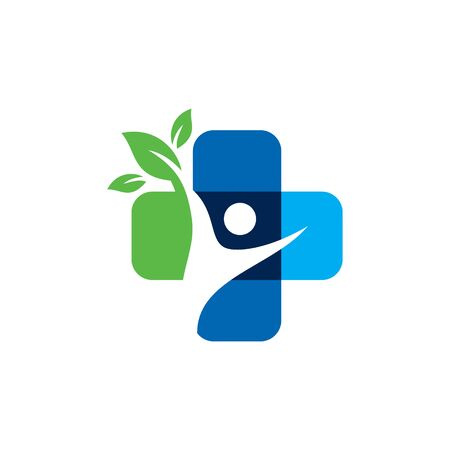 Medical People Nature Logo Design. Healthy Medicine Pharmacy Vector