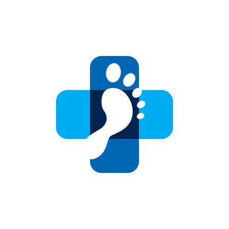 Foot Medical Logo Design. Pharmacy Cross Health Care Vector. Helping and Meditation Graphic.