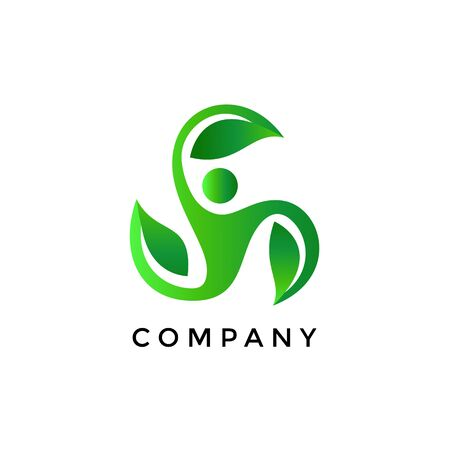 Leaf People Logo Design. Spa Ecology Nature. Healthy Medicine Pharmacy Vector Icon.