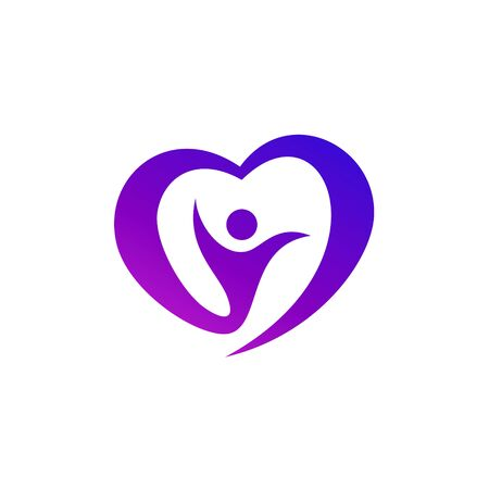 Human in Heart Logo Design. People Care Vector Graphic