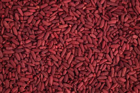 Rode gist rijst bovenaanzicht