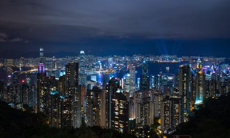 Hong Kong city at night view from Lugard road Standard-Bild