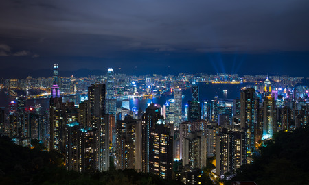 Hong Kong city at night view from Lugard road Stock fotó