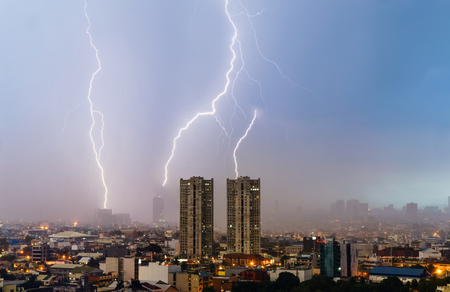 Thunder storm over Makati city