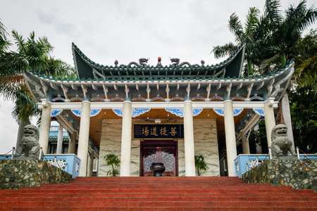 Davao city - Philippines. August 21, 2016: Main building of Long Hua temple (also called Lon Wa temple) as one of the most famous Mahayana Buddhism temple in Davao city. Editorial