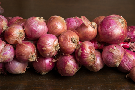 Group of fresh organic shallots for cooking