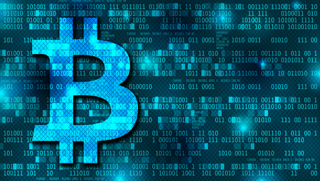 Bitcoin concept background with binary numbers