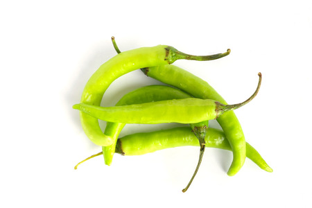 Banana chili pepper also known as the yellow wax pepper on white isolated background