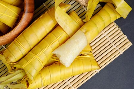 Suman sa Ibos, a traditional sticky rice cake wrapped in buli leaves