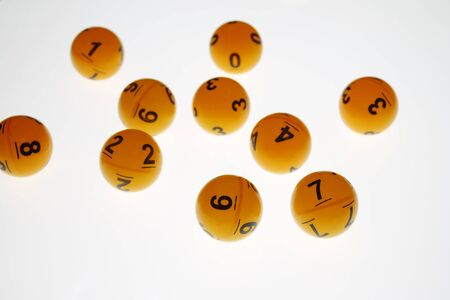 Lotto balls with number on white background for online casino concept