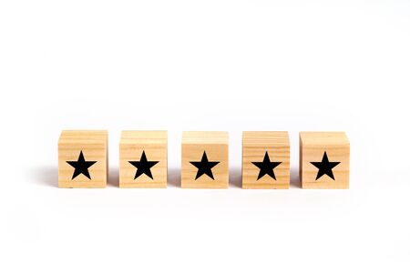 Customer service evaluation and satisfaction survey concept with stars for rating.