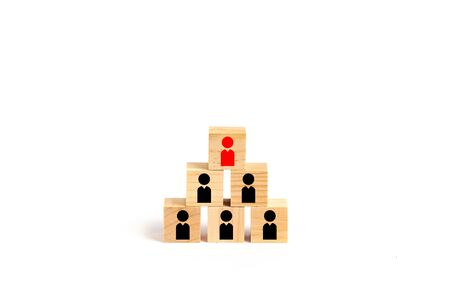 Leadership, HR and organization concepts with wooden blocks and white background