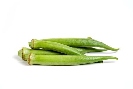 Ladies fingers or Okra vegetable on white isolated background Stock fotó
