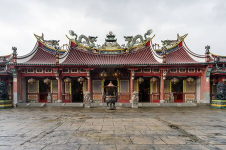 Medan, Indonesia 09 December 2019: East mountain Chinese temple front view in Medan city of Indonesia