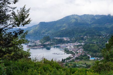 View of Ajibata town - Parapat from Motung hill highway Stock fotó