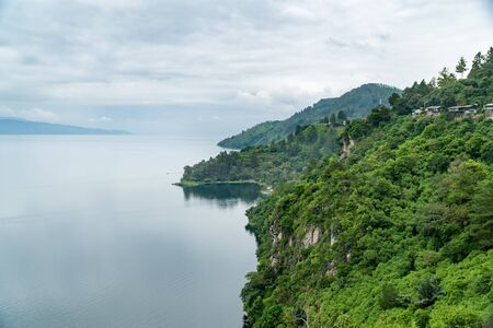 View from Panapatan - Lake Toba in Hanging stone area Stock fotó