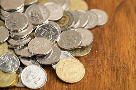 Bunch of Philippines peso coins Stock Photo