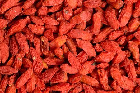 Dried goji, goji berry or wolfberry top view