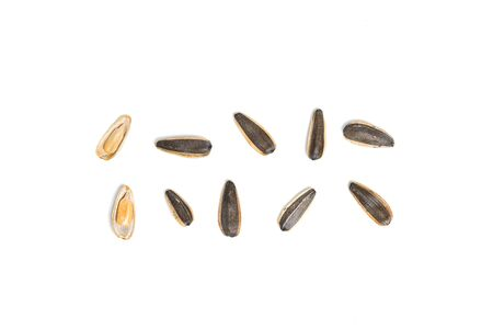 Top view of Sunflower seeds isolated with white background