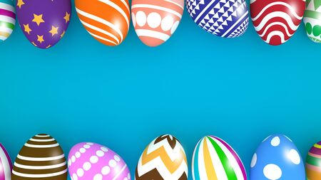 Colorful easter eggs background design. 3D Render