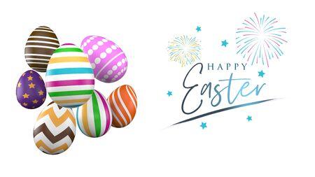 Colorful Easter eggs banner design. 3D Render Archivio Fotografico