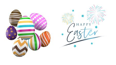 Colorful Easter eggs banner design. 3D Render