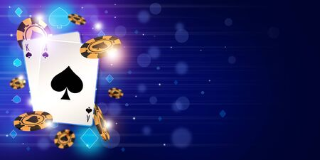 Blackjack theme background with cards combination and golden chips. Blue color concept for graphic resource