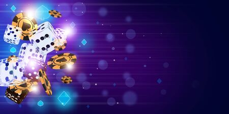 Sic Bo casino game background concept with glassy dice and golden chips