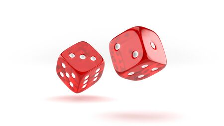 Falling red casino dice on white background. 3D render illustration.