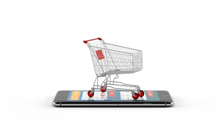 e-commerce or online shopping concept with trolley pushing cart on mobile phone. 3D render