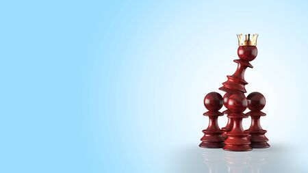 Leadership concept with chess pawn illustration. Emerging leader within employess. 3D illustration