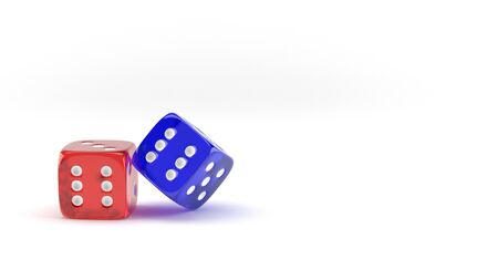 Red and blue dice on white background. 3D illustration. 版權商用圖片