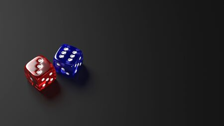 Red and blue dice on black background. 3D illustration.