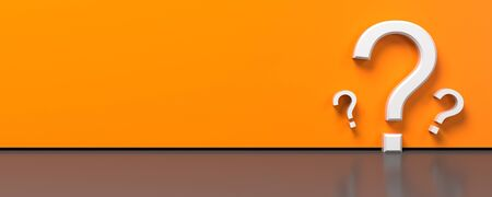 Question mark symbol on orange background for FAQ or questionnaire concept. 3D illustration