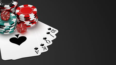 Royal flush poker hand with casino chips on table. 3D illustration